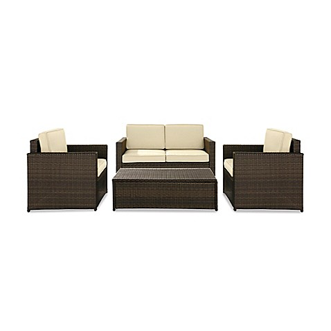 Crosley Palm Harbor 4-Piece Wicker Conversation Set