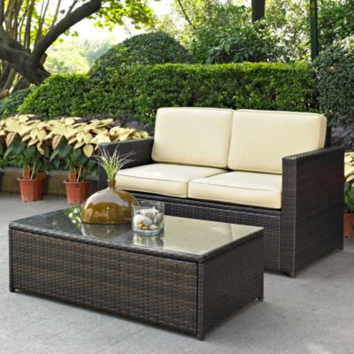 Crosley Palm Harbor 2-Piece Outdoor Wicker Loveseat Set in Brown