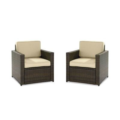 Crosley Palm Harbor Wicker Arm Chairs (Set of 2)