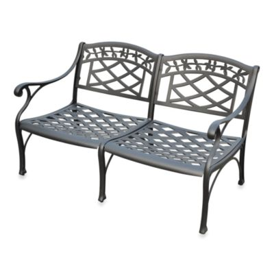 Crosley Sedona Cast Aluminum Outdoor Loveseat in Black