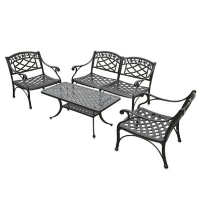 Sedona 4-Piece Cast Aluminum Outdoor Cocktail Set in Black