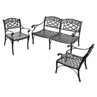 Sedona 3-Piece Cast Aluminum Outdoor Set in Loveseat & 2 Club Chairs in Black