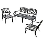 Crosley 3-Piece Sedona Outdoor Loveseat & Club Chairs Set in Black