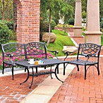 Sedona 3-Piece Cast Aluminum Outdoor Set in Loveseat Chair & Table in Black