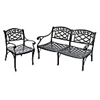 Sedona 2-Piece Cast Aluminum Outdoor Loveseat & Chair Set in Black