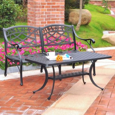 Sedona 2-Piece Cast Aluminum Loveseat & Cocktail Table Set in Black Finish