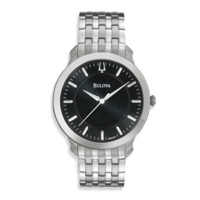 Bulova Men's Classic Round Silver Bracelet Watch w/Black Face