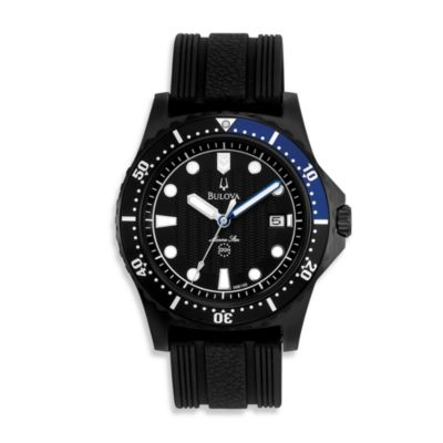 Bulova Men's Marine Star Rubber Strap Black Watch