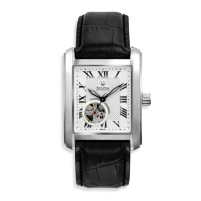 Bulova Men's Automatic Leather Strap Silver Watch