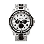 Bulova Men's Crystal Day/Date Silver Watch