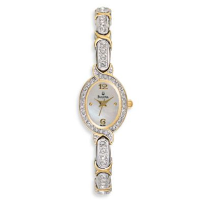 Bulova Women's Crystal Accented Mother-of-Pearl Silver Watch