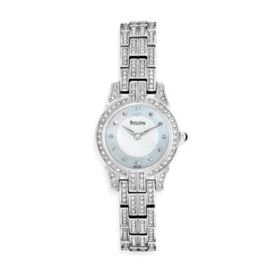 Bulova Women's Crystal Round Silver Watch