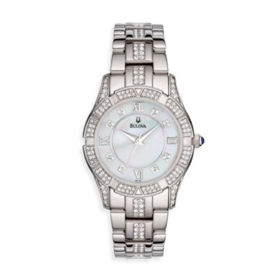 Bulova Women's Crystal Bracelet Mother-of-Pearl Silver Watch