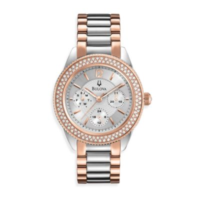 Bulova Women's Two-Tone Stainless Steel/Rose Bracelet Watch