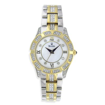 Bulova Women's Crystal Stainless/Gold-Tone Bracelet Watch
