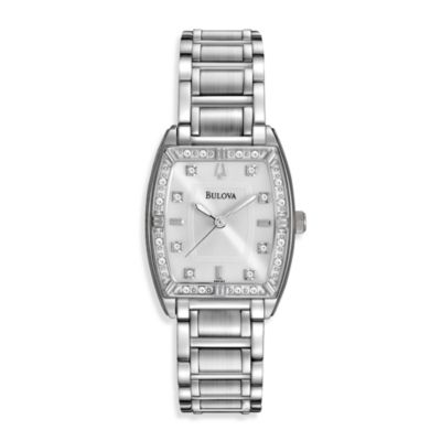 Bulova Women's Highbridge Diamond Bezel Silver Watch