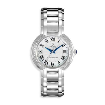 Bulova Women's Fairlawn Diamond Bezel Silver Watch