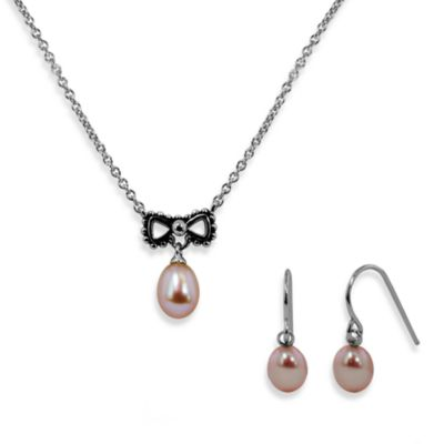 Honora Sterling Silver Oval Fresh Water Cultured Pearl Bow Pendant and Chain with Matching Earrings