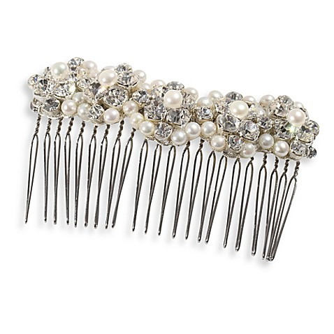 MEG Jewelry Silver Freshwater Cultured Pearl and Swarovski Crystal Fiji Hair Comb