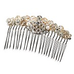 MEG Jewelry Silver Swarovski Crystal Peach Hair Comb