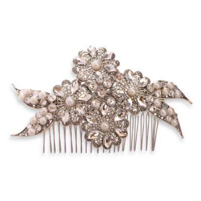 MEG Jewelry Silver Freshwater Pearl and Swarovski Crystal Panthea Hair Comb