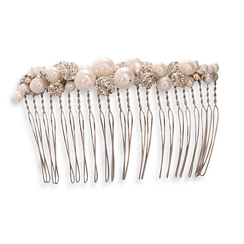 MEG Jewelry Silver Freshwater Cultured Pearl and Swarovski Crystal Amina Hair Comb