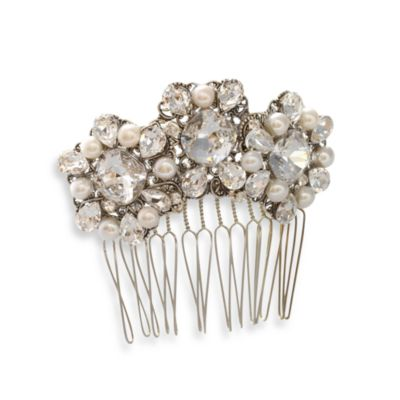 MEG Jewelry Silver Freshwater Cultured Pearl and Swarovski Crystal Melinda Hair Comb