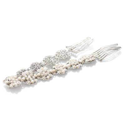 MEG Jewelry Silver Freshwater Cultured Pearl and Swarovski Crystal Cierra Headband