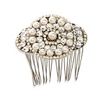 MEG Jewelry Silver Freshwater Pearl and Swarovski Crystal Candlelight Hair Comb