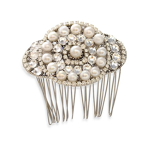 MEG Jewelry Silver Freshwater Cultured Pearl and Swarovski Crystal Candlelight Hair Comb
