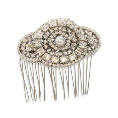 MEG Jewelry Silver Swarovski Crystal Candlelight Hair Comb