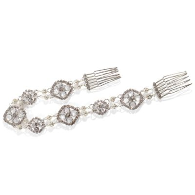 MEG Jewelry Silver Crystal Posy Headband