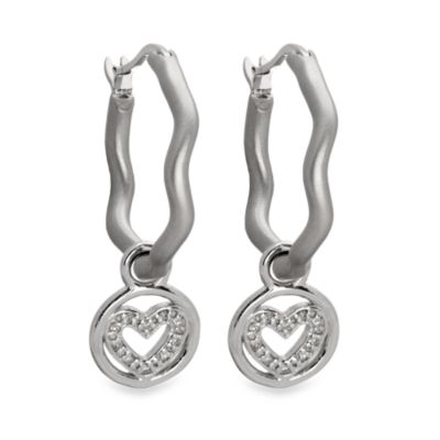 emma&me forever™ Sterling Silver and Diamond Mini Heart Charm Hoops