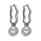 emma&me® Sterling Silver and Diamond Mini Heart Charm Hoops
