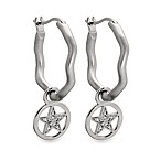 emma&me forever™ Sterling Silver and Diamond Mini Star Charm Hoops