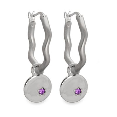 emma&me forever™ Amethyst 5-Point Star Mini Disc Charm Hoops
