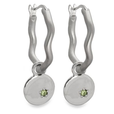 emma&me forever™ Peridot 5-Point Star Mini Disc Charm Hoops
