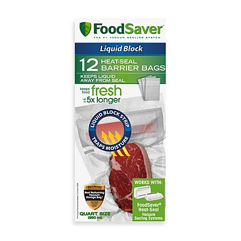 FoodSaver® Quart Size 12-Bag Pack Liquid Block Heat-Seal Barrier Bags