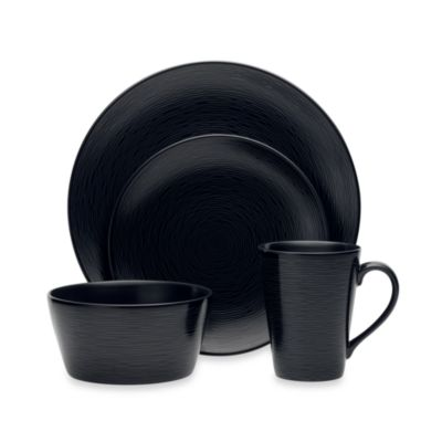 Black-On-Black Swirl 4-Piece Place Setting
