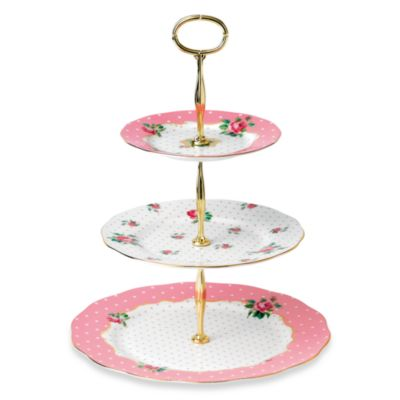Royal Albert 3-Tier Cake Stand in Cheeky Pink