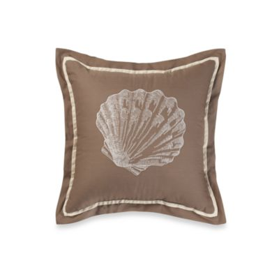 Royal Heritage Home® Square Embroidered Shell Toss Pillow in Sea Cottage