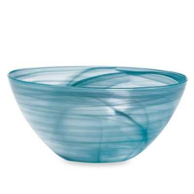 Mikasa® Swirl Teal 12-Inch Glass Serving Bowl