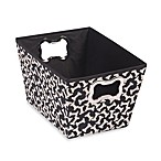 Richards Homewares Medium Black Pet Tote with Taupe Bone Print