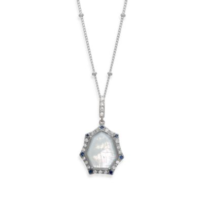 Eternities by Carol Brodie™ Rare Moonstone with Created Blue and White Sapphire Pendant