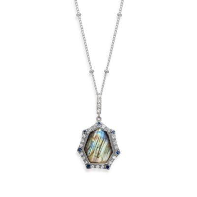 Eternities by Carol Brodie™ Rare Labradorite with Created Blue and White Sapphire Pendant
