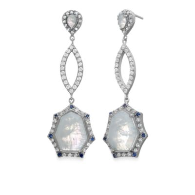 Eternities by Carol Brodie™ Rare Moonstone with Created Blue and White Sapphire Drop Earrings