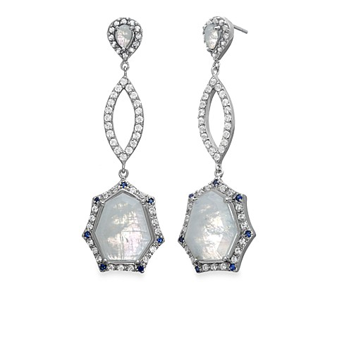 Rare Moonstone with Created Blue and White Sapphire Drop Earrings