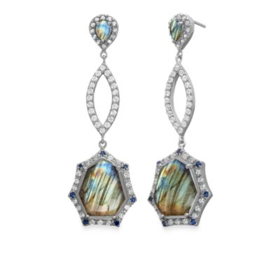 Eternities by Carol Brodie™ Rare Labradorite w/Created Blue and White Sapphire Drop Earrings