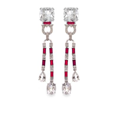 Created Ruby and Created White Sapphire with White Quartz Earrings