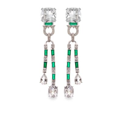Green Agate Created White Sapphire and White Quartz Earrings
